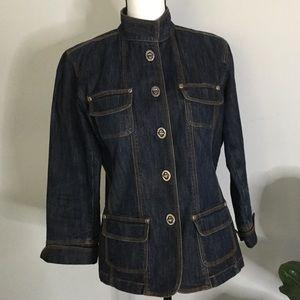 Chico's denim jean jacket heavy  hardware